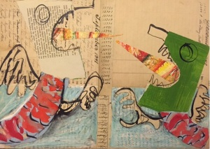 """fighting monsters -collage and paint on paper mounted on board, 10x15"""","""