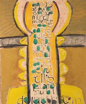 agnus dei cross, 20x24, mixed media on mat board